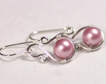 Pink Pearl Earrings Wire Wrapped Jewelry Handmade Sterling Silver Jewelry Handmade Swarovski Pearl Earrings Bridal Pearl Earrings