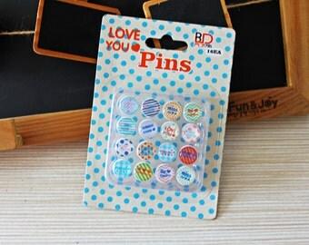16 Pcs Love You Style Pins - Epoxy Push Pin - Thumbtack - Drawing Pin