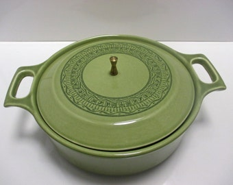 Taylor Smith Taylor Shades of Grandeur Ironstone RARE Oasis Green Pattern - Casserole with Lid and Brass Finial