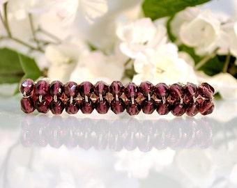 Purple Barrette Crystal Barrette Beaded Barrette Simple Barrette Handmade Hair Clip
