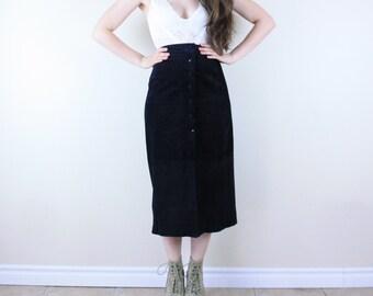 Black Suede Skirt . 1990s Reitmans Skirt Black Suede skirt Leather skirt High Waisted skirt Maxi skirt Pencil Skirt Goth skirt Button Down