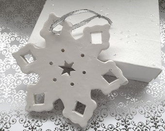 Snowflake Stocking Ornament. In White Clay