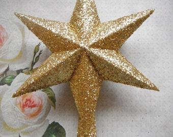 Paper Star Tree Topper. In Glittering Gold