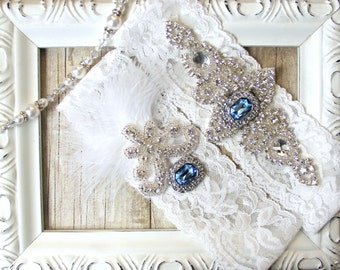 "wedding garter - Customable Garter Set with Exquisite ""Gemstones"" & Feathers on Comfortable Lace"