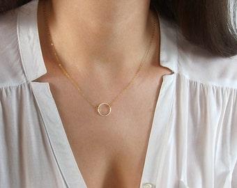 Dainty CIRCLE Necklace / Geometric Jewelry / Karma Necklace / Dainty Circle Outline with Gold Delicate Chain / Geometric Necklace