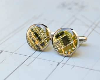 Nerdy Computer Circuit Board Mens Cufflinks Custom Wedding Stainless Steel Best Man Cufflinks