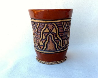 Hand Built Stoneware Cup, Mug, Pencil Holder - Hand Carved Wavy Design - Sienna Red, Brown, Tan - Rustic, Textured - Handless