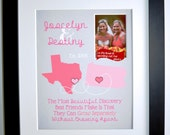 Two-State Personalized Map: Best Friend Bridesmaid Present for BFF Sister Birthday Gifts Going Away Gifts Best Friend quote photo pink gray