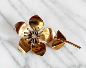 Vintage Large Brass Flower Brooch with Rhinestones