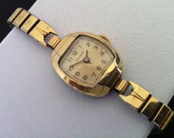 Vintage Art Deco Benrus Women's Watch, 10k Yellow Gold Filled Case, Gold Expansion Bracelet, Triple Signed, 15 Jewels BN1 Movement, Swiss