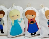 "Frozen Disney Favor bags Elsa, Anna  and Friends Birthday Party for gifts or treats Can be Personalized 5"" X 7"" or 6"" X 8"" Qty 6"
