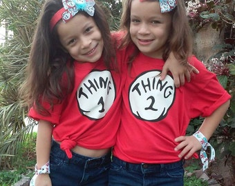 Thing 1 Thing 2 shirts with matching headbands set Dr Suess Cat in the Hat