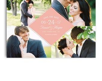Save The Date Template - Wedding Announcement Card Postcard - DANIEL & HARPER - 1387
