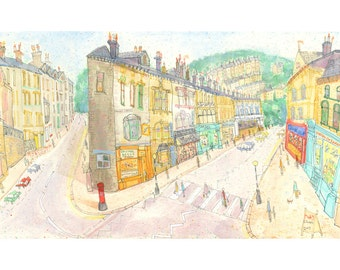 HEBDEN BRIDGE PRINT, Yorkshire Street, Signed Limited Edition Giclee Print from Watercolor Painting by Clare Caulfield, Hebden Yorkshire Art