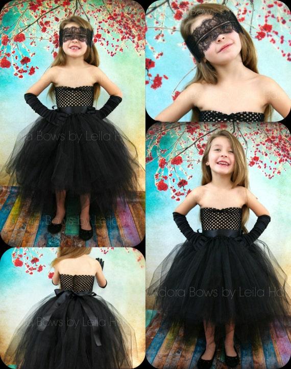 CUSTOM order Black tutu gown dress high low train dress girls
