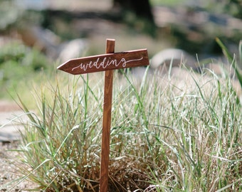 Wedding Directional Sign with Stake, Wedding, Ceremony, Reception Signs, Rustic Wooden Wedding Sign | 15x3
