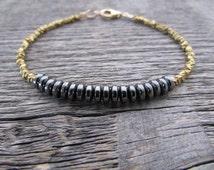hematite & hill tribe brass bracelet, hematite bracelet, vegan bracelet, hill tribe bracelet, lazuli bracelet, women's bracelet