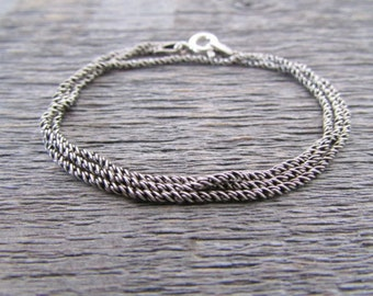 bali rope chain, 1mm chain, 20 inch chain, sterling silver chain, 925 chain, oxidized silver chain, oxidized chain, tribal chain