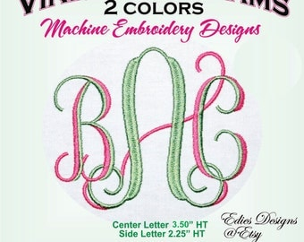 Vine Monograms 2 Color Machine Embroidery Designs Monogram Fonts BX Format Digital Download