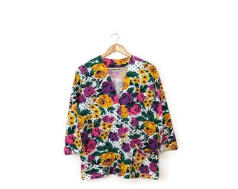 Vintage Colorful Floral Printed Cotton Light Cardigan from 1980's*