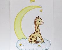 Little Dreamer, watercolor painting, nursery art, original painting, nursery print, baby giraffe, stars and moon