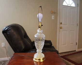 Vintage Clear Crystal Glass Table Lamp