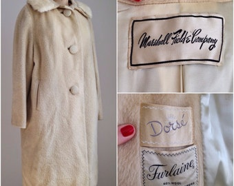 1950s retro wool coat with mink collar / mid century coat