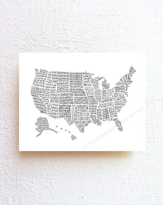 us map art united states map illustration poster by simpleserene. Black Bedroom Furniture Sets. Home Design Ideas