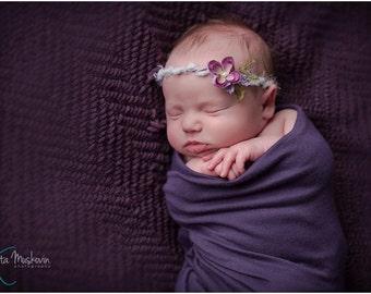 Fields of Violets Tie Back Headband, Tie Back Headband, Purple Flower Newborn Prop