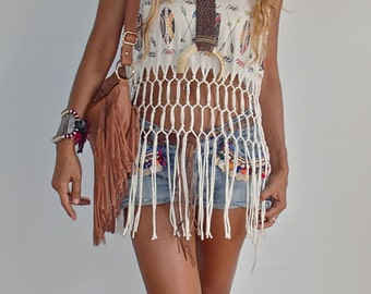 Native American Style Festival Top with knotted Fringe and Tribal Design