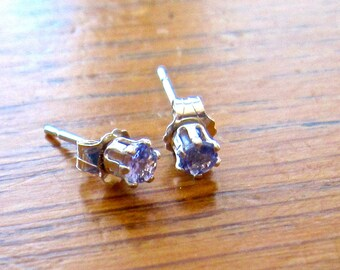 Tanzanite Sterling Stud Earrings, Petite 3mm Round, Natural, Set in Sterling    E333