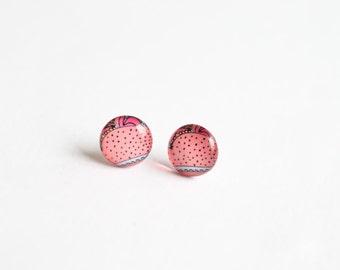 Blush earrings, blush pink earrings, 10mm small studs, blush stud earrings, blush pink studs, small stud earrings, pastel studs, pink studs