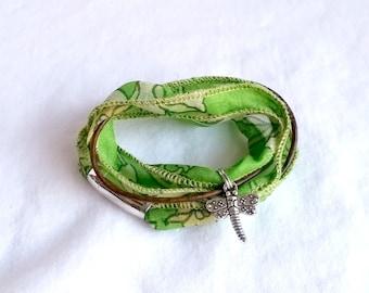 Silk Wrap Bracelet, Boho Chic, Sari Silk Ribbon, Leather Bracelet, Wrap Bracelet, Charm Bracelet, Boot Bracelet, Green Bracelet, Gypsy Style