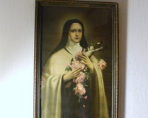 The Little Flower St. Thérèse of Lisieux. Framed Wooden Lithograph 1940's