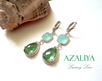 Lucite Green & Baby Blue Chandeliers. Azaliya Luxury Line. Wedding. Bridal Earrings. Bridesmaid Gift. Pastel. Chalcedony. Teal, Aquamarine.