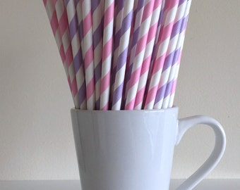 Pink and Purple Paper Straws Light Pink and Light Purple Lavender Striped Party Supplies Party Decor Bar Cart Cake Pop Sticks Graduation