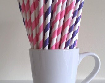 Pink and Purple Striped Paper Straws Party Supplies Party Decor Bar Cart Cake Pop Sticks Mason Jar Straws Graduation