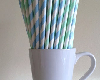 Mint Green and Light Blue Striped Paper Straws Party Supplies Party Decor Bar Cart Cake Pop Sticks Mason Jar Straws Graduation