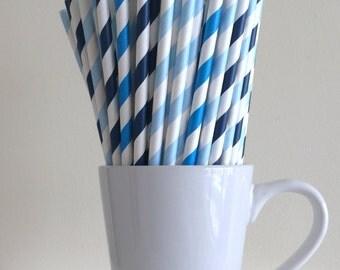 Blue Paper Straws Dark Blue, Blue, Light Blue Striped Party Supplies Party Decor Bar Cart Cake Pop Sticks  Party Graduation