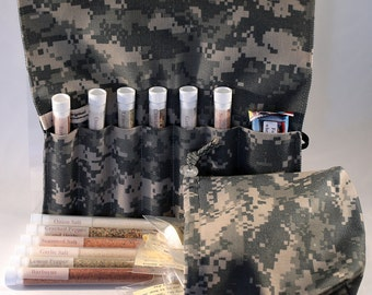 Army ACU Camo Gift Set - Meal Improvement Kit with refill and Appreciation Bag.  Deployment, going away or care package gift.