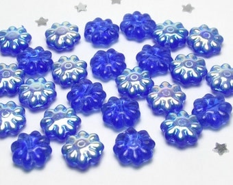 Czech Daisy Bead 9mm - Sapphire Blue AB - Transparent Glass with Aurora Borealis AB Finish - 25 beads - Flower Bead
