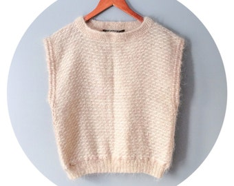 Vintage Mohair Sweater Dusty Rose Ivory Cream Handmade Hand Knit Natural Fabric Artisan Made Hand Crafted Gift for Her Size Medium Large XL