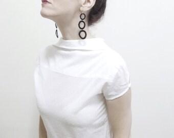 Lace earrings, Black Circle Doily Earring, Geometric Jewelry