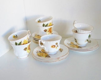Vintage Bone China Yellow Roses Tea Set Cups Plates Saucers English Fenton Royal Vale Royal Ascot Fine Bone China 1950's 1960's - 19 Pieces