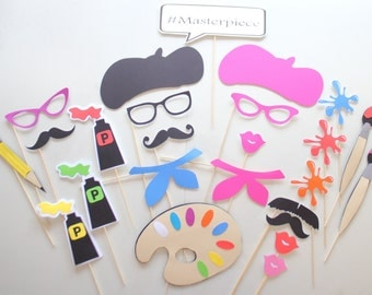 25pc *Art Party Photobooth Props/Artist Party/Paint Party Photobooth
