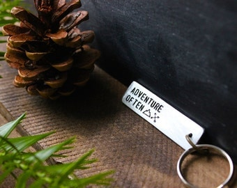 Adventure Often - Personalized Hand Stamped Key Tag - Handmade Keychain - by Modern Out