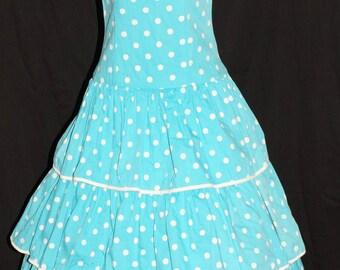 1950s Ruffled Summer Dress Sz 2 Vintage Retro Pinup