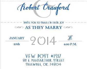 Blue and Gray Wedding Invitations