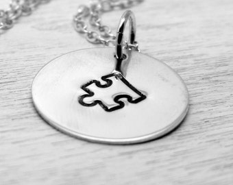 Sterling Silver Puzzle Piece Charm Necklace | Autism Awareness | Hand Stamped Disc, Ready to Ship