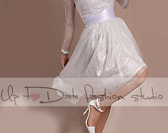 Lace short  Wedding /reception/ party  /chantilly lace dress/ long  Sleeves Bridal Gown